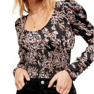 Free People NEW Crop Top Size Large Black Floral